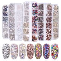 1 scatola Multi Size Rhinestones di vetro misto di colori piatto-back di cristallo Strass 3d fascino gemme Diy manicure del chiodo decorazioni di arte