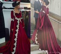 2019 Nuovo Arabo Dubai Maniche lunghe Abito da sera Kaftan Vintage Modest Modest Economici Borgogna Formale Celebrity Party Gown Personalizzato Made Plus Size