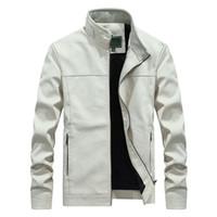 حامل الياقة خريف وشتاء جديد أبيض سترة جلدية الرجال PU معاطف الرجال معطف طويل الأزياء الأعمال خارجية ذكر العلامة التجارية الملابس