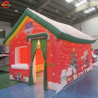 2021 led مضاءة نفخ منزل عيد الميلاد للبيع المحمولة نطاط سانتا كهوف للأطفال في الهواء الطلق عيد الميلاد حزب تأجير خيام الهواء