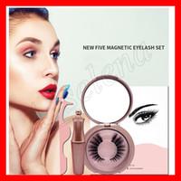 Beliebte Augen Make-up Fünf Magnetic Wimpern Set Magnet falsche Wimpern magnetische Flüssigkeit Eyeliner Wimpernzange Pinzette kosmetische Werkzeug Wimpern