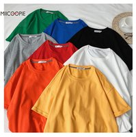 Miicoopie Summer Mens Cotton T- shirt Solid Color Oversize T-...