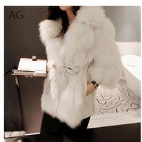 Invierno caliente grueso de visón abrigos de piel falsa mullido de la chaqueta de la falsificación del abrigo de pieles de las señoras Manteau Fourrure Femme más el tamaño de 2XL