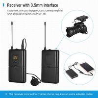 UHF ميكروفون لاسلكي ميكروفون علاق طية صدر السترة الميكروفون نظام الارسال استقبال لDSLR كاميرات الهواتف الذكية كاميرات الفيديو