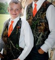 2020 New Camo Boy's Formal Trage Camouflage Westen Billig Sale (Weste + Orange + Orange Tie) für Hochzeitsfeier Kinder Junge Formale Tragen Sitte gemacht