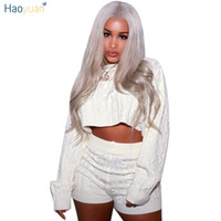 HAOYUAN 2018 Autumn Winter Women Two Piece Set Sexy Club Outfits Sweater Top And Biker Shorts Knitted Suit Clothes Matching Sets