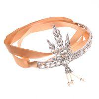 El gran gatsby diadema de novia Accesorios para el cabello de la perla Tassel de la hoja de la hoja de la boda Fiesta de la boda de la moda de la joyería de la joyería de la manera de la boda Hairband