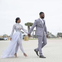 Plus Größe 2021 Jumpsuits Brautkleider Brautkleider mit abnehmbarem Zug High Neck Lange Ärmel Muslimische afrikanische Perlen benutzerdefiniert