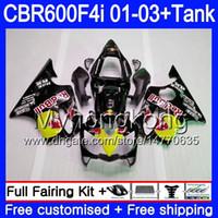바디 + 탱크 혼다 용 CBR 600F4i CBR600FS CBR600F4i 01 02 03 286HM.57 CBR600 F4i 600 FSB CBR 600 F4i 2001 2002 2003 페어링 옐로우 레드 핫