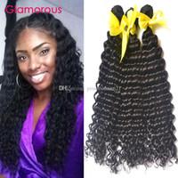 Glamouröse Jungfrau Brasilianisches Haar Großhandel 3 Bündel Peruanische Malaysische indische tiefe Welle lockiges Haar webt menschliche Haarverlängerungen 8-34inches