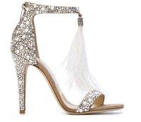 Frete grátis senhoras saltos de couro com saltos de borla de penas, sandálias de diamante de água, calçados de casamento de cristal, tamanho: 34-40
