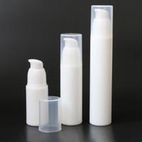 El Yüz Vücut Göz Kremi Losyon Dispenser Havasız Kozmetik Konteyner Şişe için 15ml 30ml 50ml Beyaz Plastik Kozmetik Havasız Pompa Şişe