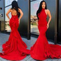 Mermaid Sexy Abendkleider 2020 Hoher Ausschnitt Vintage Satin Paare Mode Abend formale Kleider Roter Teppich Wear Benutzerdefinierte