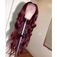 Burgundy Color Human Hair Full Lace Wig Body Wave Virgin Bra...