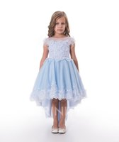Lovely Blue Applique Perles De Perles Knee Girl Robes Robes Flower Girl Robes Vacances / Jupe d'anniversaire Jupe Princesse Taille personnalisée Taille personnalisée 2-14 F110136