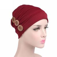 Pulsante Turbano Sciarpa Cappello Cancer donne Berretti femminili cappelli Ruffle Vento Rosso Bonnet chemioipertermia Coton turbante islamico # 800