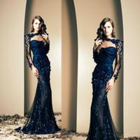 Marineblau Ziad Nakad Promi Abendkleider durchschauen langen Ärmeln Applikationen Abendkleider Nixe-Abschlussball-Kleid-Partei-Abnutzung