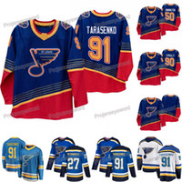 Mens 91 블라디미르 Tarasenko Jerseys St. Louis Blues 90 년대 빈티지 2019-20 정통 로얄 저지 50 Binnington Ryan O'Reilly Alex Pietrangelo