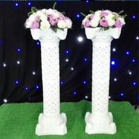 Flower ile 100CM Düğün Dekor Roma Sütun Düğün Dikmeler Plastik Beyaz Pillars Parti Etkinlikleri Yol Hoşgeldin Malzemeleri Standı