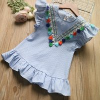 2019 Summer Girls Clothes Blue Stripe Dress for Girls Kids R...