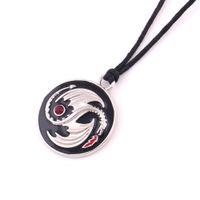 X9 Vichingo animale antico Yin Yang ciondolo drago ciondolo collana nera catena amuleto regolabile catena d'epoca