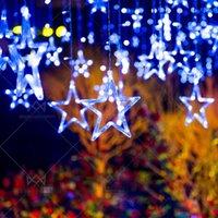 LED-Vorhang-Licht-Stern und Mond Urlaub-Schnur-Licht Wasserdichtes 2M 138led Dekoration Lampe für Hochzeit, Party, Weihnachtsbeleuchtung
