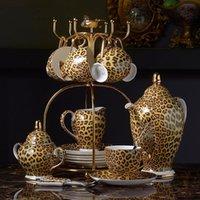 Leopard Imprimir Hueso China Coffe Coffee Set de té de porcelana de lujo Pote Avanzado Taza de cerámica Taza de azúcar Tetera Tetera