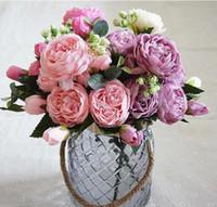 Koreaanse kleine bos van roze Perzische roos imitatie bloem huishoudelijke bruiloft fotografie boeket 10 stks / partij WL594