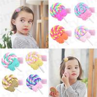 Clip 1.3inch delle neonate Barrettes bella polimero Arcobaleno Lollipop Pin di Bobby principessa dell'arcobaleno tornante Kid colore della caramella capelli cloud E31201