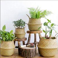Cestas de ratán Cesta plegable alga marina mimbre Dirty Laundry cesta del almacenaje de la casa para guardar simple decoración Organizador Jardín Pot