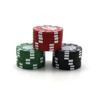 Bardian Poker Chip 4 Grinders Herb Level plastique Mini manuel fumée Crusher Round Smoking Grinder ménage 5 5ft E19