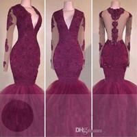 Vestidos de baile atractiva Rark roja del cordón de manga larga de la sirena 2K 17 africana formal ilusión vestidos de noche negros niñas vestido del desfile
