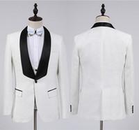 2020 мода Белый жених смокинги женихов одна кнопка Шаль воротник Лучший мужской костюм свадебные мужские костюмы блейзер (куртка+брюки+жилет+галстук-бабочка)