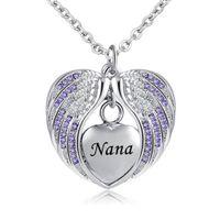 مجوهرات الحرق مع ملاك الجناح جرة قلادة للرماد المولد قلادة تذكارية تذكار القلب ، نانا