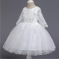 Low Price Ball Gown Jewel Tea Length Tulle Flower Girls Dres...