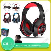 Oyun Headset GM-1 3.5mm Ajustable Oyun Kulaklık Kulaklık Kulaklık Kulaklık Mikrofon Ile PS4 Telefon PC için LED Işık