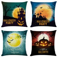 Halloween Carnival Linen Cushion Covers Home Office Sofa Squ...