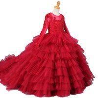 Wein-Rot-Perlen Applikationen Mädchen-Festzug-Kleider Erstkommunion Kleider Blumen-Mädchen-Kleider für Hochzeit Reißverschluss-Rückseite Kleine Kinder Geburtstag Kleid