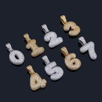 0-9 Benutzerdefinierte Name Bubble Zahlen Anhänger Halsketten Charme Für Männliche Frauen Gold Silber Farbe Zirkon Hip Hop Schmuck Geschenke