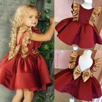 EUA adorável criança bebê menina lantejoula bowknot vestido de festa de casamento vestido de princesa
