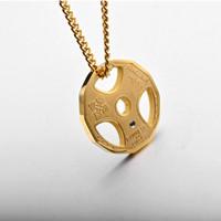 الدمبل قلادة قلادة الفولاذ المقاوم للصدأ سلسلة الوزن لوحة الحديد قلادة الرجال النساء رياضة الهبي الدافع الهيب هوب المجوهرات