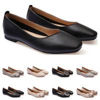 dames Chaussures plates taille lager 33-43 femmes fille nue en cuir gris noir Nouveau arrivel mariage Groupe de travail chaussures robe vingt-cinq