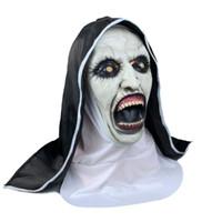 Die Nonne Horror Maske Cosplay Valak Scary Latexmasken mit Kopftuch Schleier Hood Vollvisierhelm Horror-Kostüm-Halloween-Stütze Freies Verschiffen
