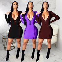 Hisimple 2019 New Sexy Bodycon Dress Women Clothes Deep- V Lo...