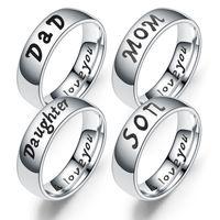 أحبك أمي / أبي / الابن / ابنتها الدائري accessoires النساء المجوهرات الأسرة الفولاذ المقاوم للصدأ حلقة أمي الأسرة المودة الهدايا