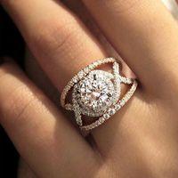 Trendy chic redondos anillos de cristal de circón para las mujeres con estilo de compromiso de bodas de bodas Aniversario Anillos Moda Novia Joyería Anel