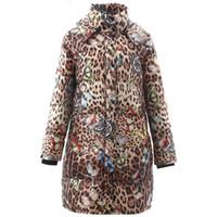 Designer Inverno Customed con stampa leopardata a manica lunga Bianco Anatra Coat Donne spessore caldo elegante Outwear il soprabito Nuovo