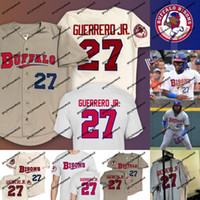 Buffalo Bisons # 27 Vladimir Guerrero Jr. Jersey Alle genähten Stickerei Logos Vladimir Guerrero Jr. Baseball-Trikots Kostenloser Versand S-XXXL