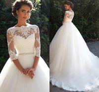 Vintage dentelle arabe demi-manches une ligne robes de mariée princesse Long Bateau perles Tulle princesse robes de mariée avec voir à travers le dos