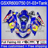 + Tank Für SUZUKI GSX-R750 GSXR 750 600 K1 GSXR600 01 02 03 294HM.26 GSX R600 R750 Blau gelb rot GSXR-600 GSXR750 2001 2003 Verkleidungen